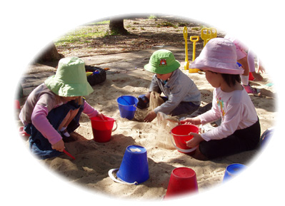 Kids playing in the Three Bears Kindergarten sand pit